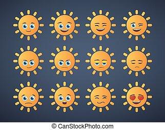 cute sun  avatar expression set