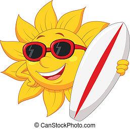 Cute sun cartoon character with sur