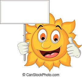 cute sun cartoon holding blank sign