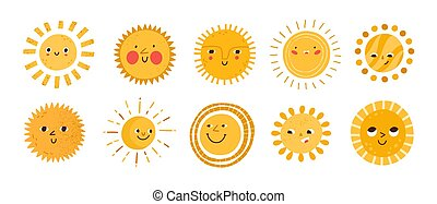 Cute sun flat vector illustrations set. Yellow childish sunny emoticons collection. Smiling sun with sunbeams cartoon character isolated on white background. T shirt print design element