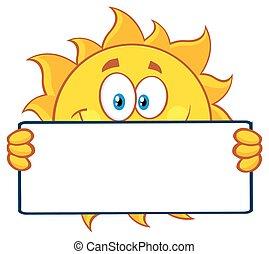 Cute Sun Holding A Blank Sign