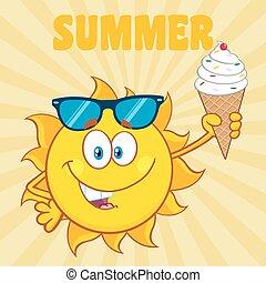 Cute Sun Holding A Ice Cream