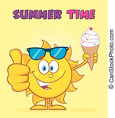Cute Sun Holding A Ice Cream - Cute Sun Cartoon Mascot...