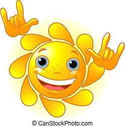 "Cute Sun \""I love you\"" gesture - Cute and shiny Sun showing..."