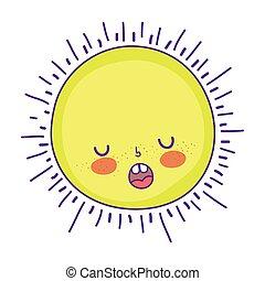 cute sun kawaii character