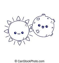 cute sun moon kawaii cartoon character