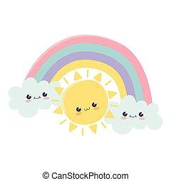 cute sun rainbow clouds hello kawaii cartoon character