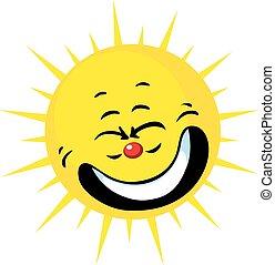 cute sun smiling - vector illustrat