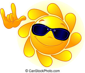 Cute Sun with sunglasses - Cute and shiny Sun with...