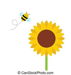 Cute sunflower and bee character in kawaii style