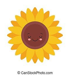 Cute sunflower emoticon character. Vector flat illustration