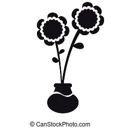 Cute sunflower on a pot silhouette