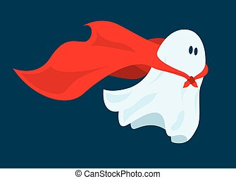 Cute super hero ghost flying with cape - Cartoon...