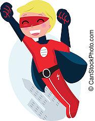 cute, superhero, dreng, flyve, bag efter, silhuet, byen