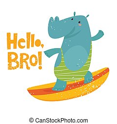 Cute surfing hippo vector image with lettering