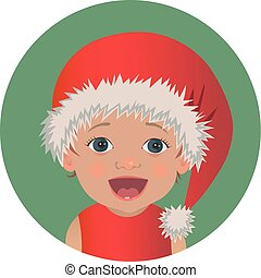 Cute surprised baby Santa Claus emoticon.  Astonished Christmas child emoji. Amazed Santa hat kid avatar