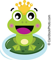 Cute surprised Frog Prince isolated on white - Frog Prince....