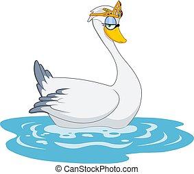 Cute Swan Princess Cartoon Character With Golden Crown