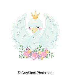 Cute swan with a crown on his head. Vector illustration on white background.