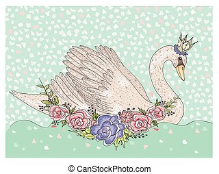 Cute swan with crown and flowers.