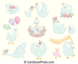 Cute swans. Vector illustration on white background.