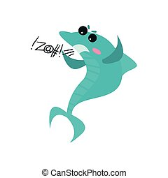 Cute swearing shark cartoon character, funny blue fish vector Illustration