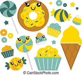Cute sweet cartoon candy set - lime and mint
