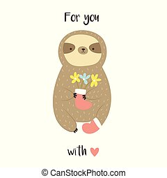 Cute sweet sloth with bunch of flowers in a boot.