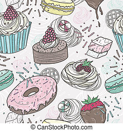 Cute sweets seamless pattern