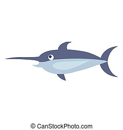 Cute Swordfish Cartoon Flat Vector Sticker or Icon