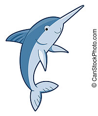 Cute Swordfish with Clipping Path