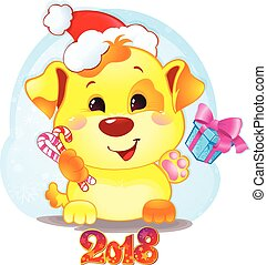 Cute Symbol of Chinese Horoscope - Yellow Dog for New Year 2018