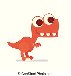 Cute T-Rex. Dinosaur life. Vector illustration of prehistoric character in flat cartoon style isolated on white background. Funny red Tyrannosaurus with big eyes. Element for design.