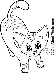 cute tabby kitten cartoon animal character coloring book page