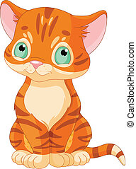 Cute Tabby Kitten - Sitting red tabby kitten