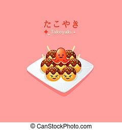 Cute takoyaki and octopus