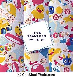 cute, tal, jogo, animais, illustration., windup, padrão, brinquedos, seamless, caterpillar., clockwork, luminoso, vetorial, pato, mecânico, gifts., elefante, tartaruga, mecânico, crianças, lata