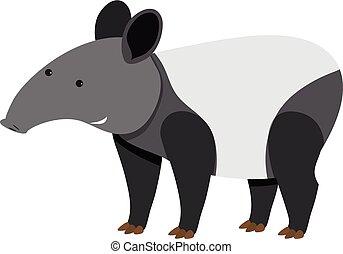 Cute tapir standing on white background