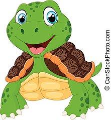 cute, tartaruga, caricatura, posar