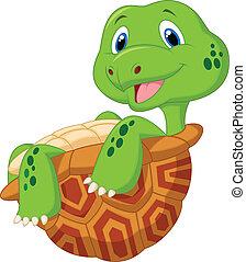 cute, tartaruga, caricatura