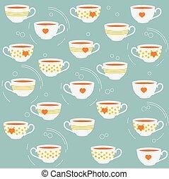 Cute tea cups. Vector seamless pattern.