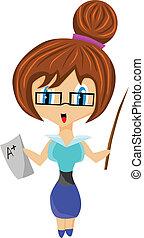 cute teacher - Cute teacher with black glasses