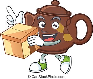 Cute teapot cartoon character having a box
