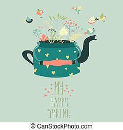Cute teapot with spring herbs and birds