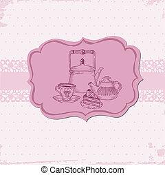 cute, teapots, menu, -, seu, vetorial, bolo, scrapbook, ou, cartão