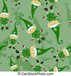 cute, tecido, inverno, têxtil, padrão, duende, seamless, feriados, escuro, experiência., verde, doodle, bebê, desenho, natal, decor.