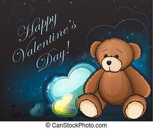 Cute teddy bear and hearts
