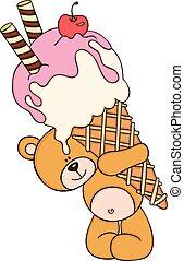 Cute teddy bear carrying a big ice cream cone