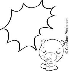 cute teddy bear cartoon with speech