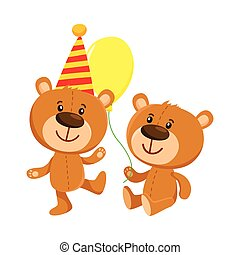Cute teddy bear characters in birthday cap and with balloon